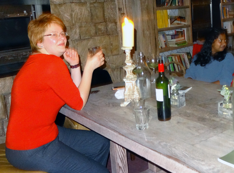 At dinner in St Andrews. Copyright Frances Wall.