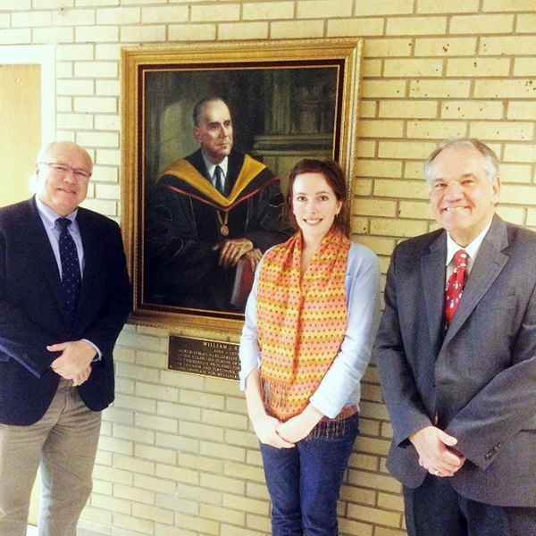 Left to right. Professor Spiller, Colorado School of Mines, Portrait of Dr Kroll, Milly Owens, Camborne School of Mines, and Professor Anderson, Colorado School of Mines. Copyright Camilla Owens.