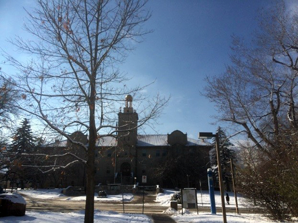 Colorado School of Mines covered in snow in December. Copyright Camilla Owens