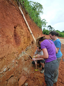 Investigating a section through an ion adsorption clay deposit in Madagascar