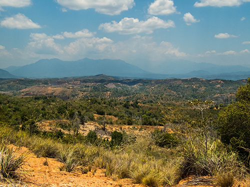 A view of Manongarivo (big mountain in the far distance) taken on the way to Ambanja. From Malagasy the name Manongarivo translates as 'a thousand hikes'. Copyright Guillaume Estrade/Eva Marquis.
