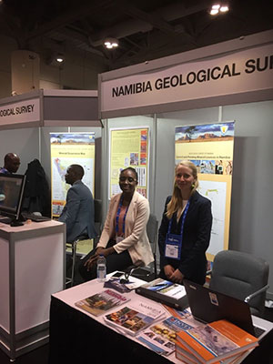 Geological surveys were also represented including USGS, and here the Namibia Geological Survey. Photo Copyright Ed Loye.